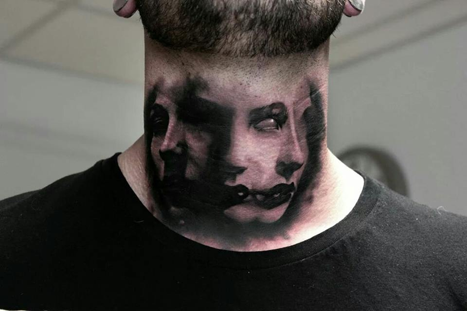 Scary Faces Neck Tattoo