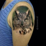 Realistic Owl Shoulder Tattoo