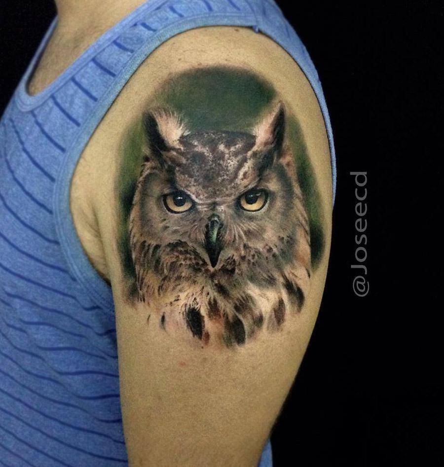 Realism Owl Tattoo