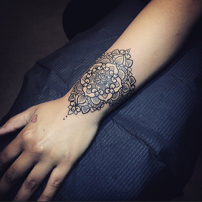 Pretty Mandala Wrist Tattoo | Best tattoo design ideas