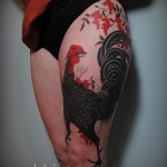 Rooster Thigh Tattoo