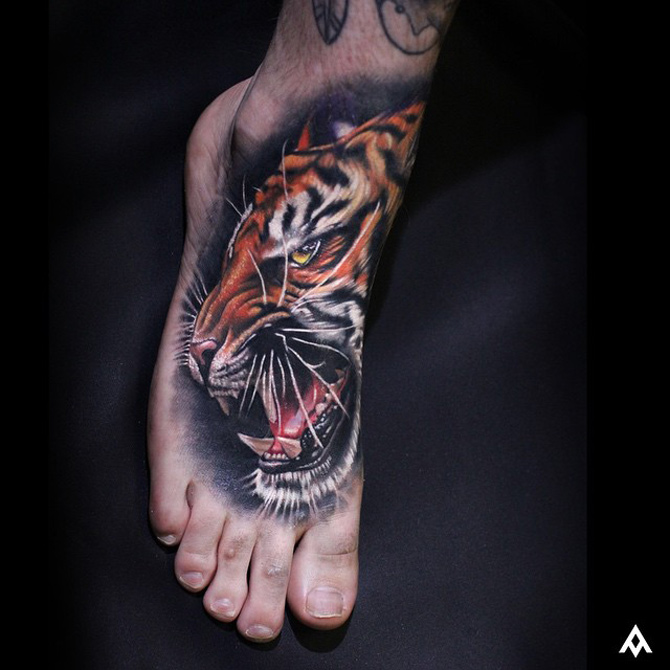 Tiger Foot Tattoo