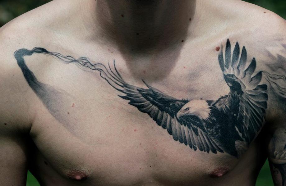 Bald Eagle Chest Tattoo