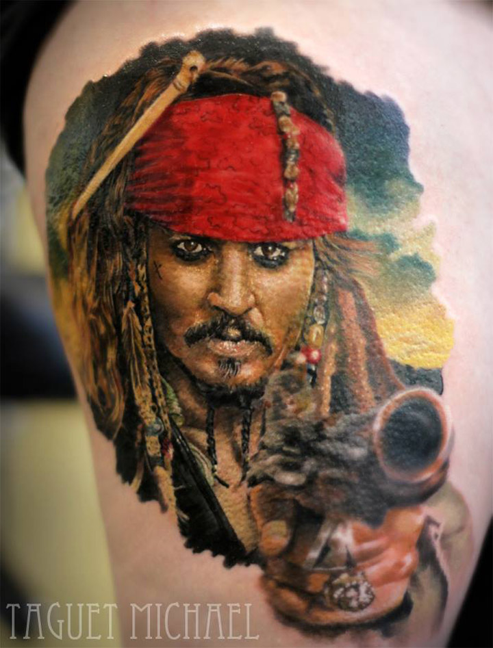 captain jack sparrow best tattoo design ideas. Black Bedroom Furniture Sets. Home Design Ideas