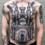 Castle Chest Tattoo