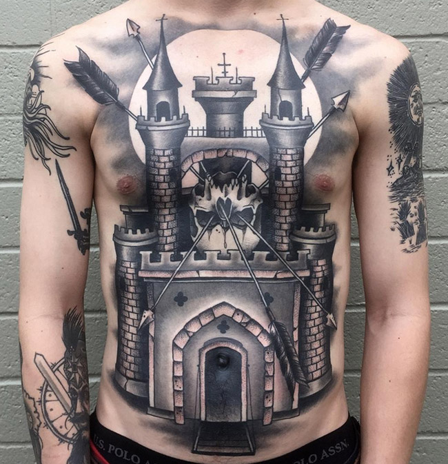 castle skull tattoo ideas. Black Bedroom Furniture Sets. Home Design Ideas