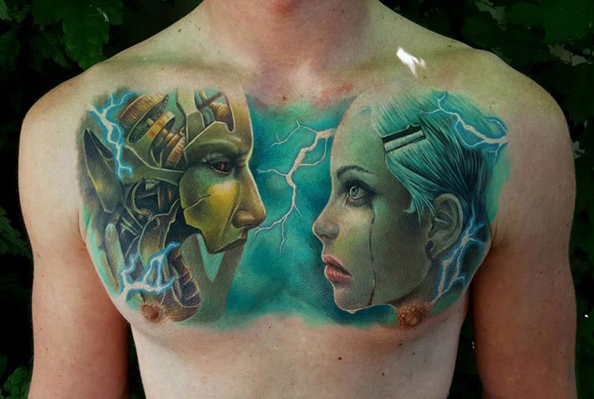 Cyborg Chest Tattoo