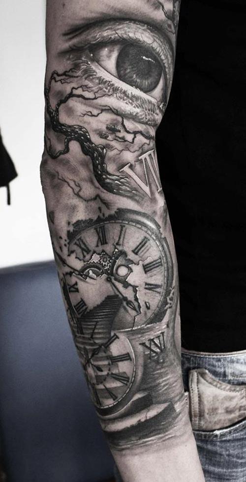 511a53e4797bc Eye, Clock & Stairway Sleeve | Best tattoo design ideas