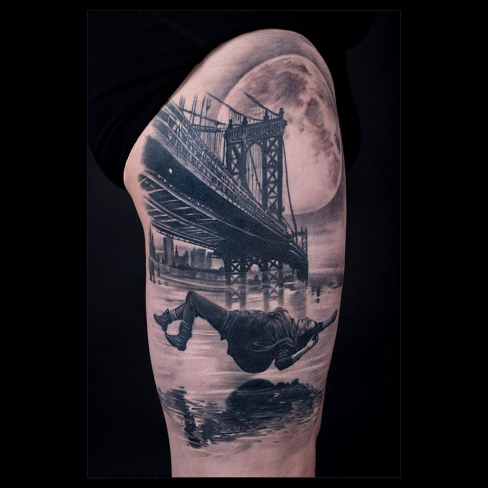 Best Tattoo Design Ideas: Manhattan Bridge Falling Woman