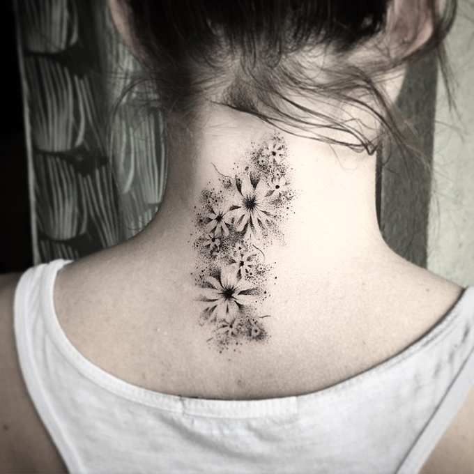 Flowers Neck Tattoo