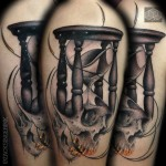 Hourglass & Skull Tattoo