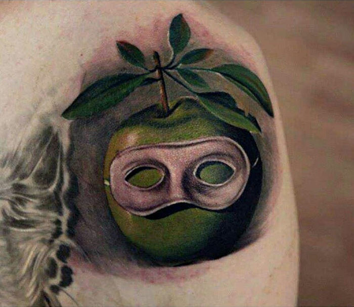 Masked Apple Tattoo
