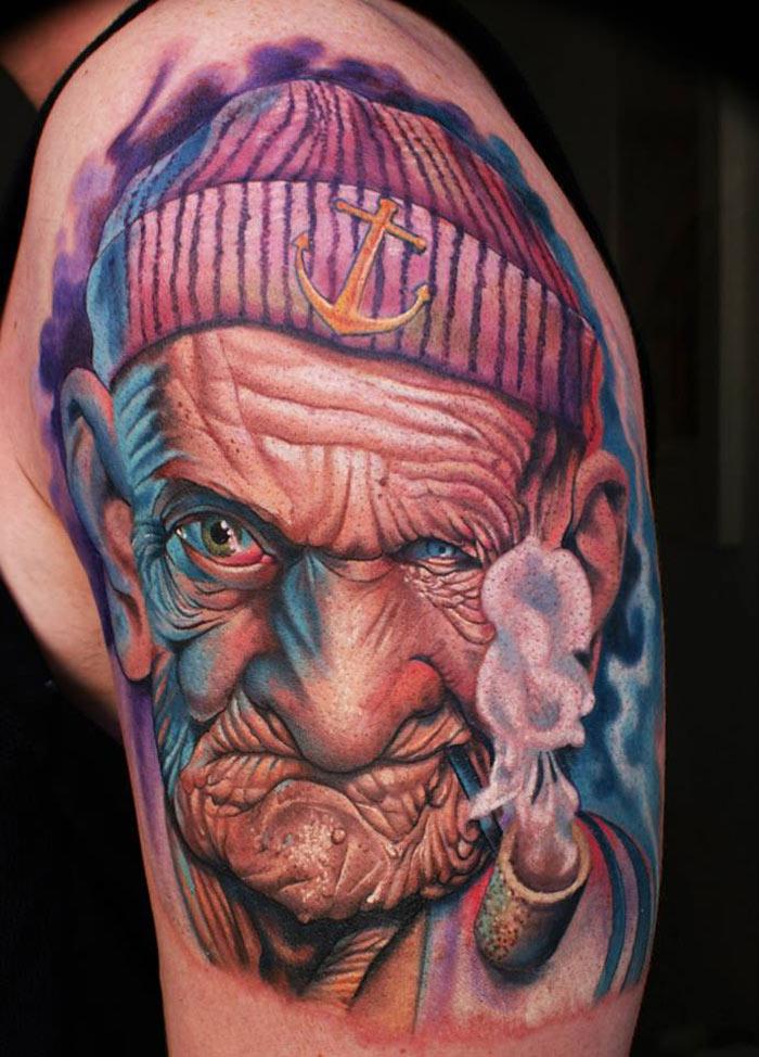 Old Man Sailor Tattoo