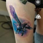 Pegasus Thigh Tattoo