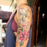 Pink Flowers Arm Tattoo