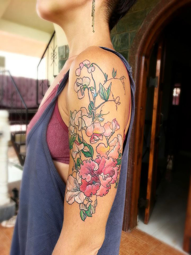 Pink flowers arm best tattoo design ideas for Forearm flower tattoos