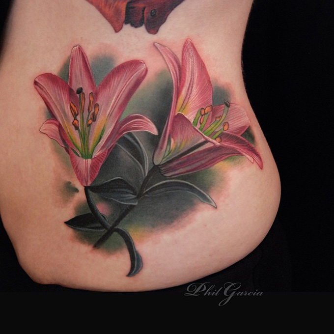 pink lilies side tattoo best tattoo design ideas. Black Bedroom Furniture Sets. Home Design Ideas