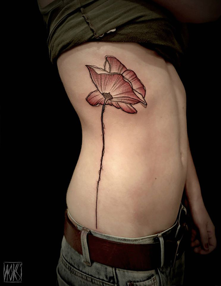 Poppy Side Tattoo