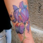 Watercolor Iris Tattoo