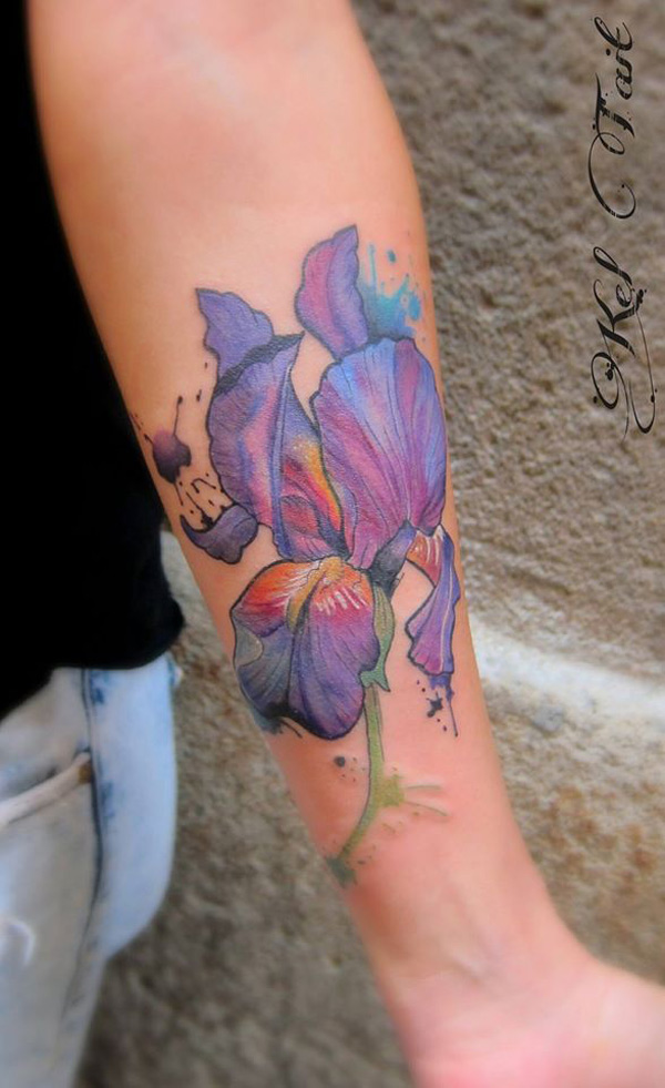 watercolor iris best tattoo design ideas. Black Bedroom Furniture Sets. Home Design Ideas