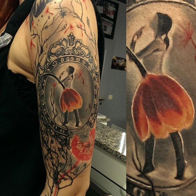ballerina flower dress best tattoo ideas designs. Black Bedroom Furniture Sets. Home Design Ideas