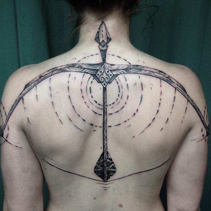 Bow & Arrow Back Tattoo