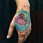 Cupcake Hand Tattoo
