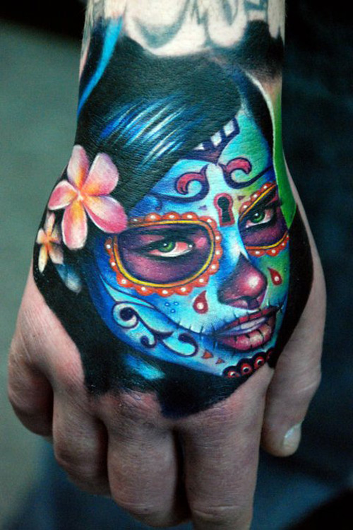 Day of the Dead Hand Tattoo