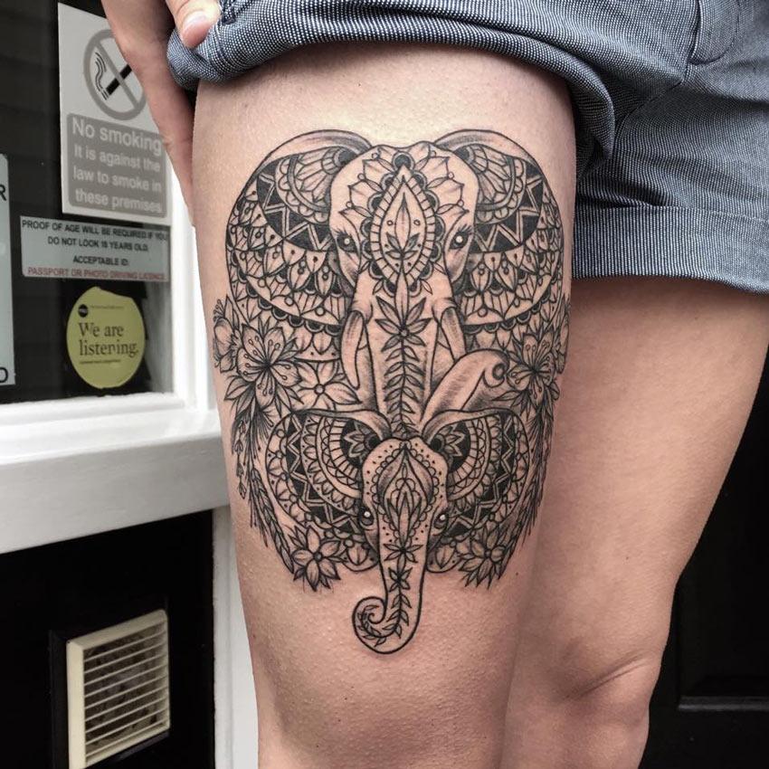 Elephant Mandala Thigh Tattoo Best Tattoo Design Ideas