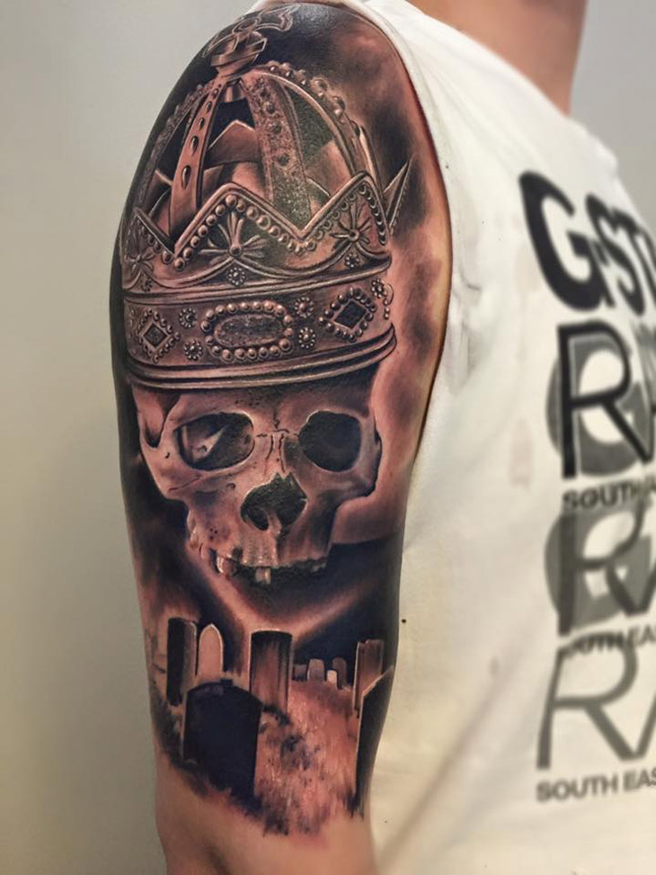 Graveyard Skull & Crown Tattoo