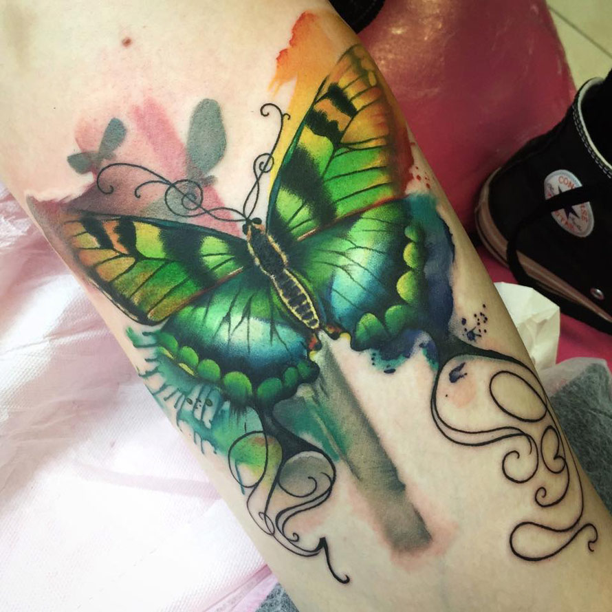 Colorful Butterfly Tattoo