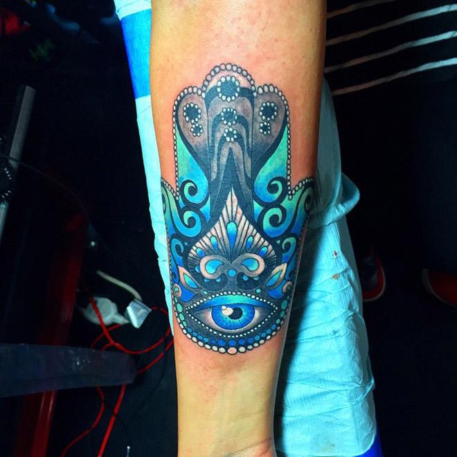 Blue Hamsa Forearm Tattoo