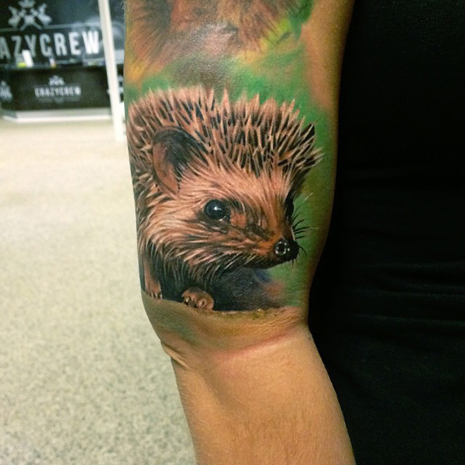 Hedgehog Arm Tattoo