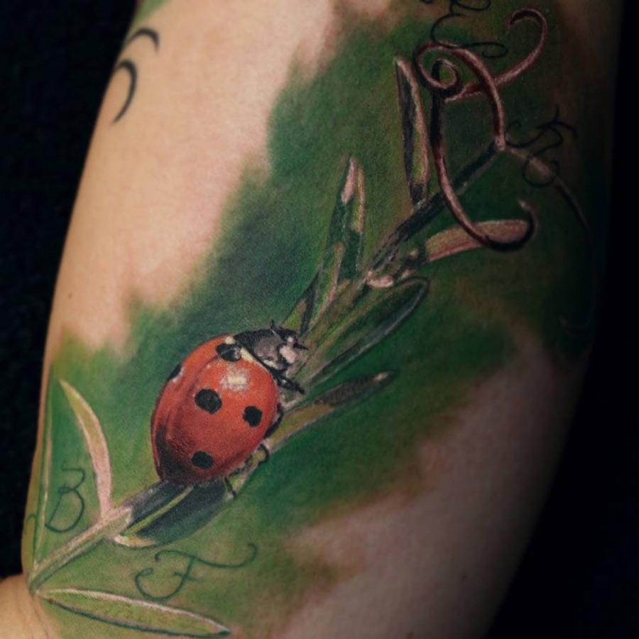 Realistic Ladybird Tattoo
