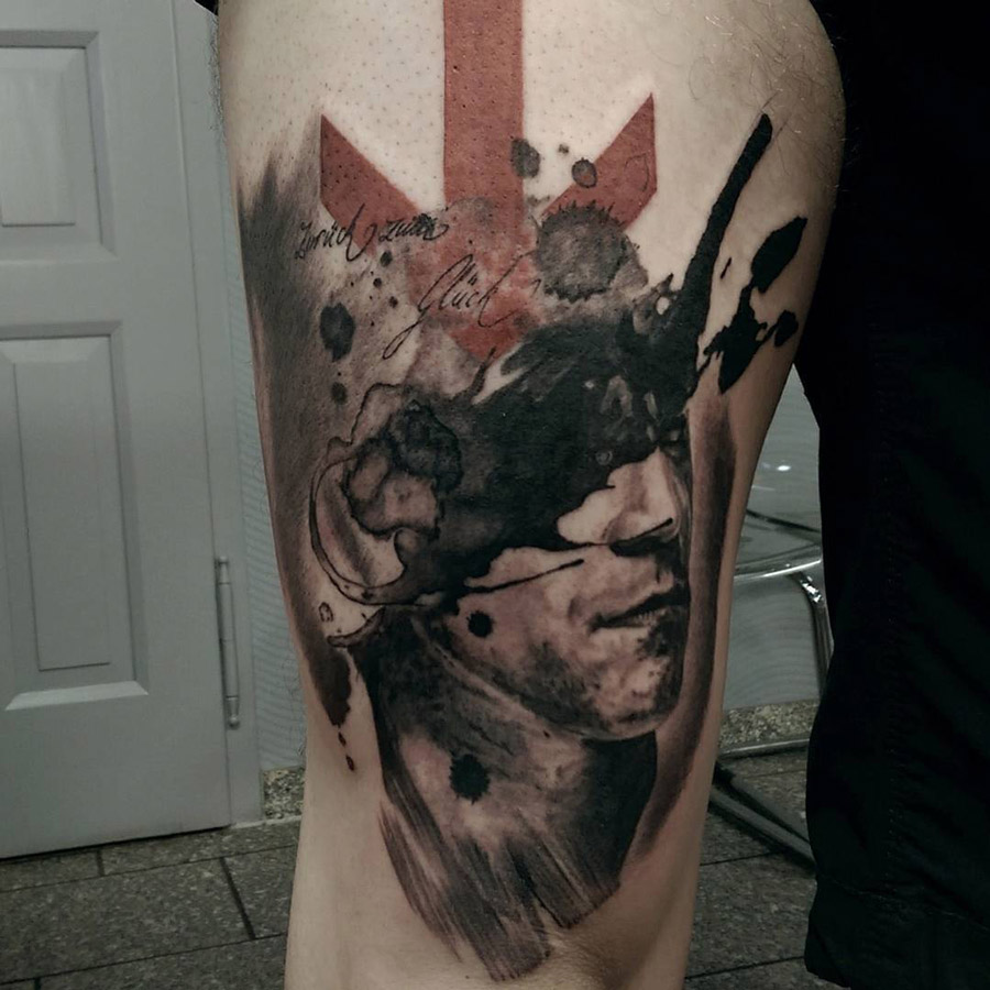 Abstract Thigh Tattoo
