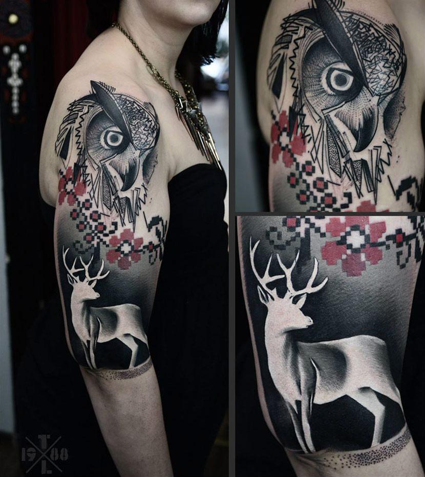 Owl & Deer Sleeve | Best tattoo design ideas