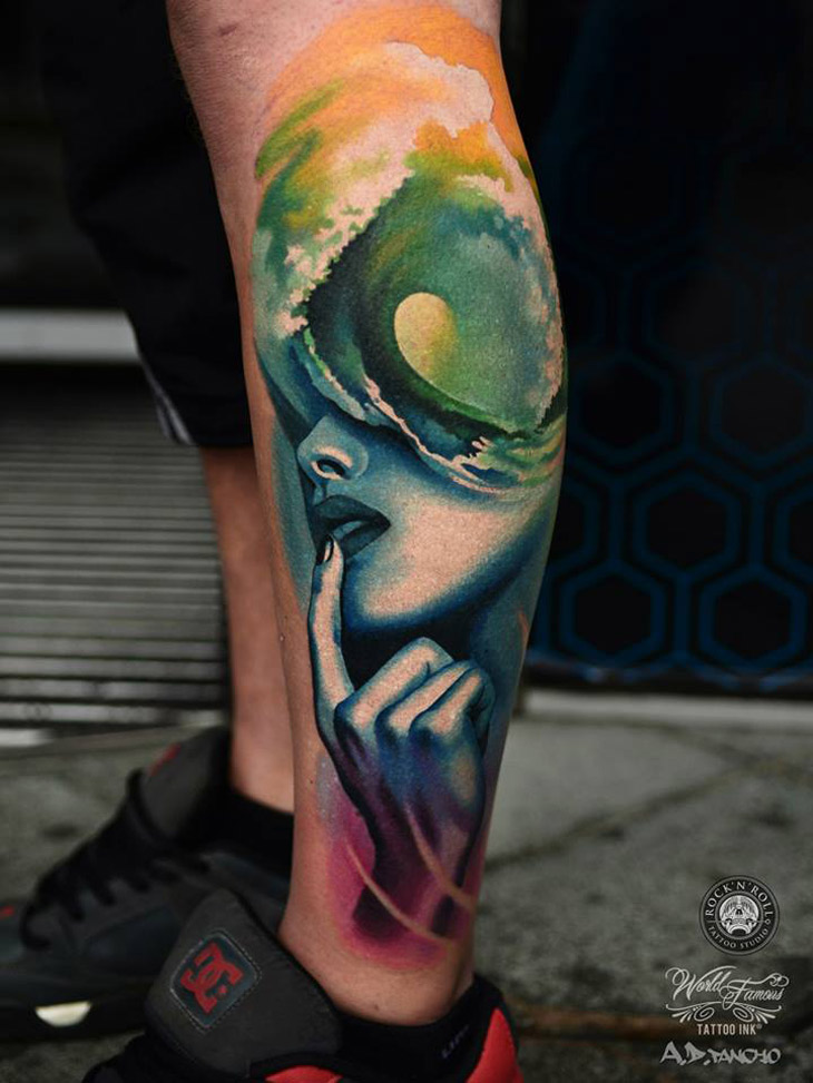 Portrait & Wave Abstract Leg | Best tattoo design ideas