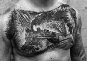 Railroad Chest Tattoo