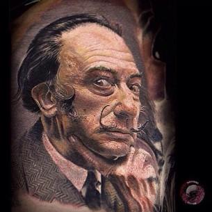 Salvador Dali Realistic Tattoo