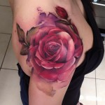 Red Rose Shoulder Tattoo
