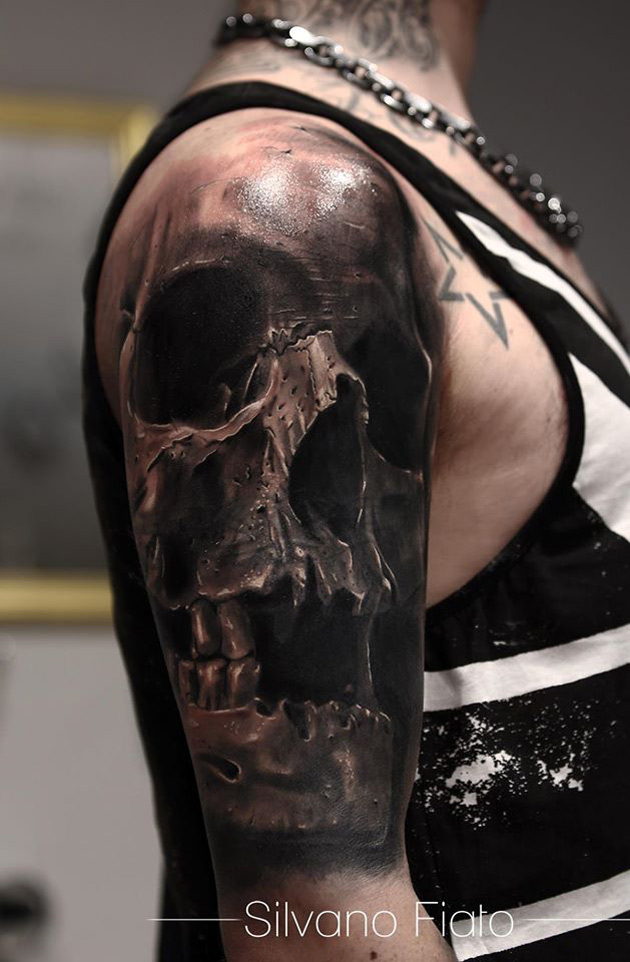 realistic skull sleeve best tattoo design ideas. Black Bedroom Furniture Sets. Home Design Ideas