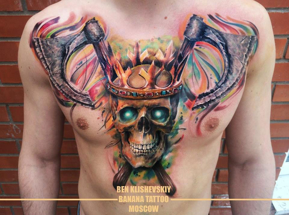 Skull & Crown Chest Tattoo