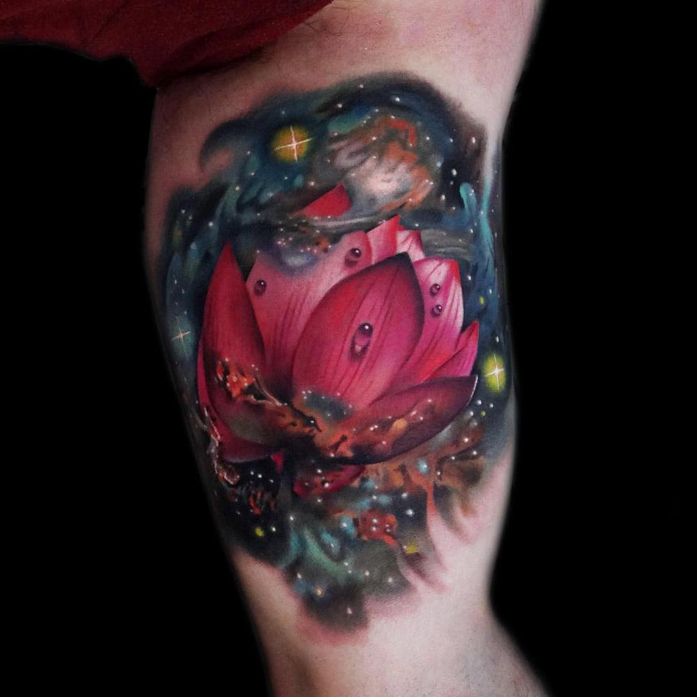 Space Lotus Flower Best Tattoo Design Ideas