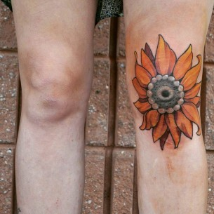 Sunflower Knee Tattoo