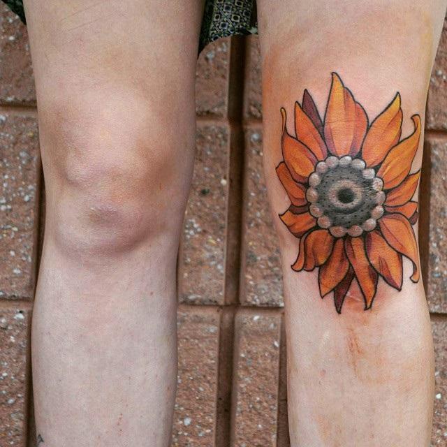 Sunflower Knee Tattoo