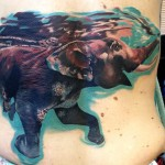 Swimming Elephant Back Tattoo