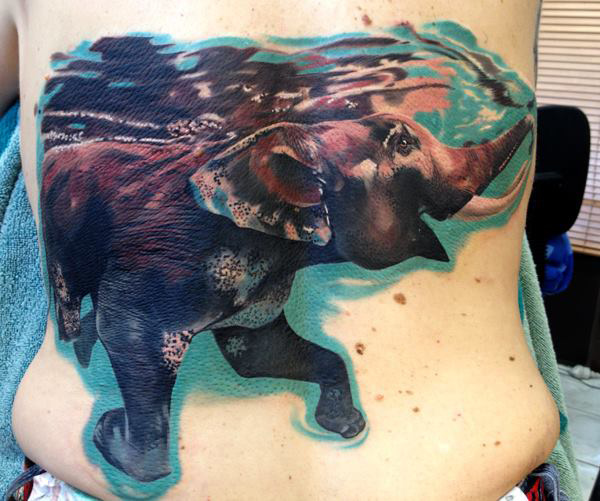 Swimming Elephant Back Tattoo