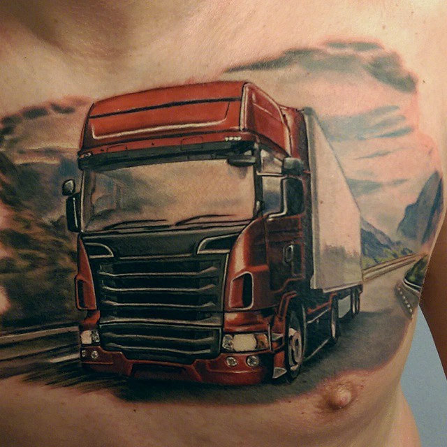 Truck Chest Tattoo