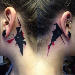 Abstract Behind The Ear Tattoos