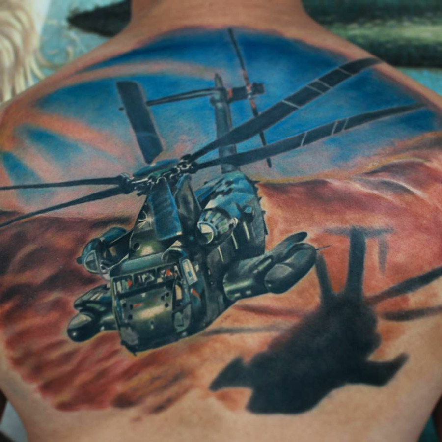 Helicopter Back Tattoo